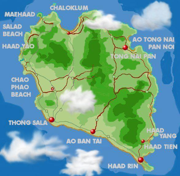 Inseln Thailand Karte Karte Koh Phangan Thailand